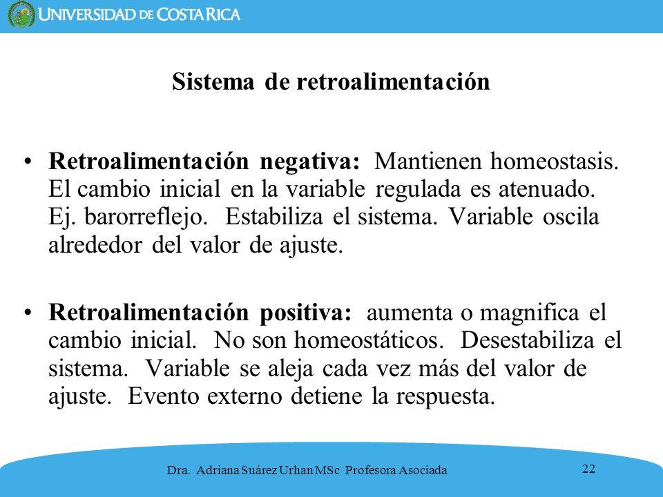 22 Sistema de retroalimentación Retroalimentación negativa: Mantienen homeostasis. El cambio inicial en la variable regulada es atenuado. Ej. barorref