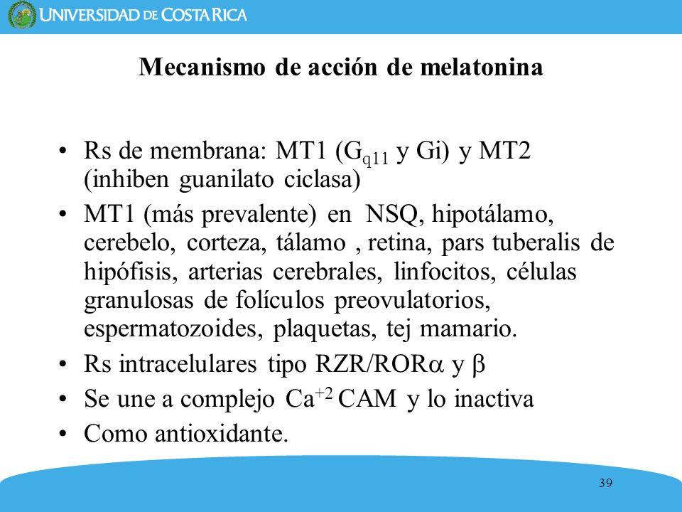 39 Mecanismo de acción de melatonina Rs de membrana: MT1 (G q11 y Gi) y MT2 (inhiben guanilato ciclasa) MT1 (más prevalente) en NSQ, hipotálamo, cereb