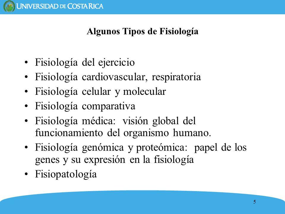 5 Algunos Tipos de Fisiología Fisiología del ejercicio Fisiología cardiovascular, respiratoria Fisiología celular y molecular Fisiología comparativa F