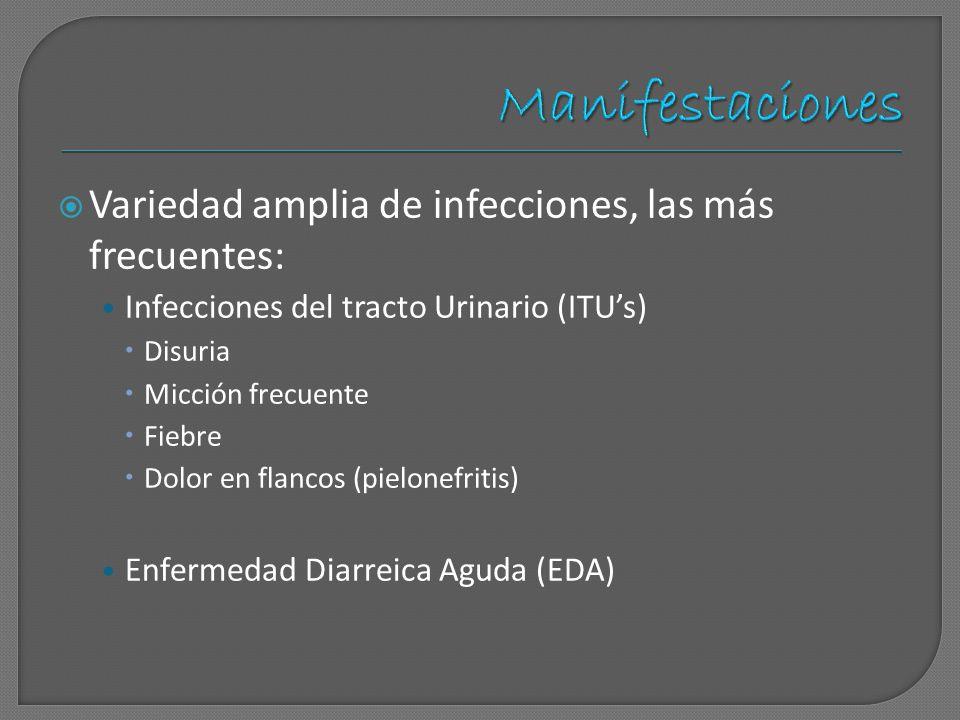Variedad amplia de infecciones, las más frecuentes: Infecciones del tracto Urinario (ITUs) Disuria Micción frecuente Fiebre Dolor en flancos (pielonef