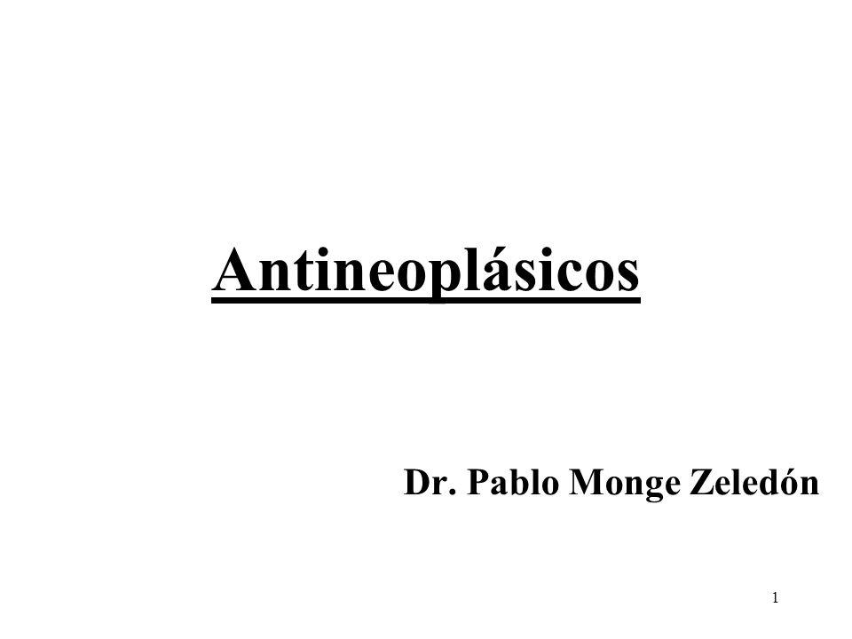 52 Relación del ciclo celular tumoral con la actividad de los antineoplásicos AGENTES CICLO ESPECIFICOSNO CICLO ESPECIFICOS Antimetabolitos (Metotrexate, citarabina, fluorouracilo, 6- mercaptopurina, hidroxiurea) Agentes alquilantes (busulfán, ciclofosfamida, mecloretamina, melfalán, tiotepa, clorambucilo) Antraciclinas (Doxorubicina, daunorubicina) Antibióticos (dactinomicina, mitomicina) Bleomicina Componentes de Platino (cisplatino, carboplatino) Camptotecinas (Irinotecan, topotecan) Nitrosoureas (BCNU, CCNU) Alcaloides de plantas (vincristina, vinblastina, etopóxido, taxol) Dacarbazina l-Asparaginasa