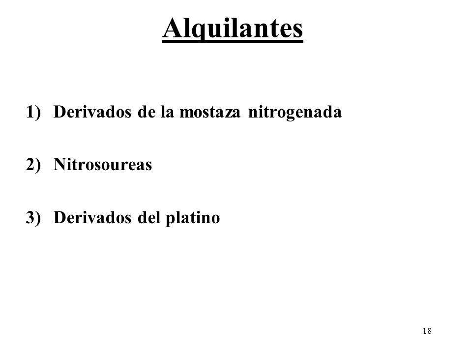 18 1)Derivados de la mostaza nitrogenada 2)Nitrosoureas 3)Derivados del platino Alquilantes