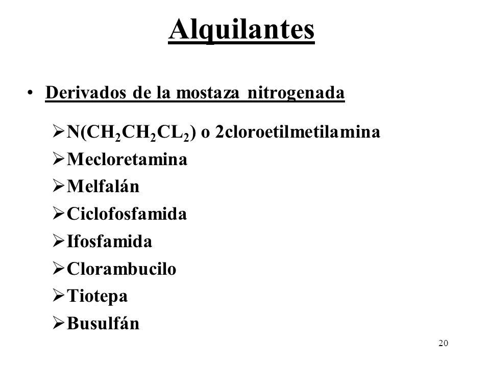 20 Derivados de la mostaza nitrogenada N(CH 2 CH 2 CL 2 ) o 2cloroetilmetilamina Mecloretamina Melfalán Ciclofosfamida Ifosfamida Clorambucilo Tiotepa