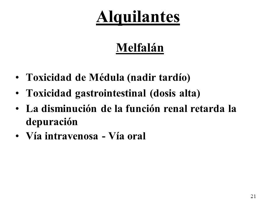 21 Melfalán Toxicidad de Médula (nadir tardío) Toxicidad gastrointestinal (dosis alta) La disminución de la función renal retarda la depuración Vía in