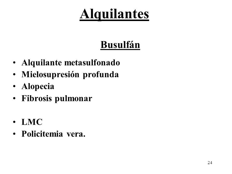 24 Busulfán Alquilante metasulfonado Mielosupresión profunda Alopecia Fibrosis pulmonar LMC Policitemia vera. Alquilantes