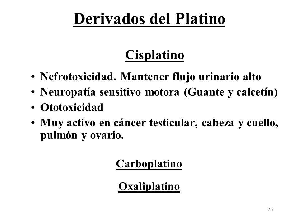 27 Derivados del Platino Cisplatino Nefrotoxicidad. Mantener flujo urinario alto Neuropatía sensitivo motora (Guante y calcetín) Ototoxicidad Muy acti