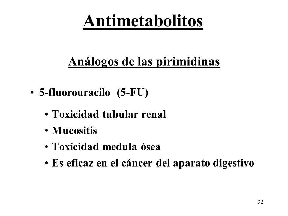 32 Análogos de las pirimidinas 5-fluorouracilo (5-FU) Toxicidad tubular renal Mucositis Toxicidad medula ósea Es eficaz en el cáncer del aparato diges