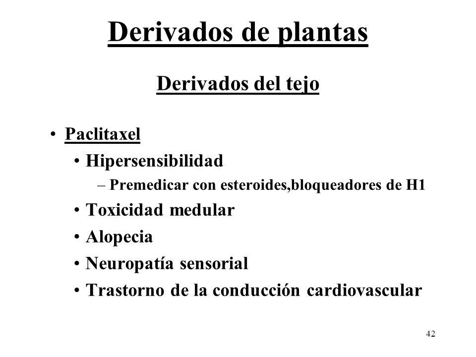 42 Derivados del tejo Paclitaxel Hipersensibilidad –Premedicar con esteroides,bloqueadores de H1 Toxicidad medular Alopecia Neuropatía sensorial Trast