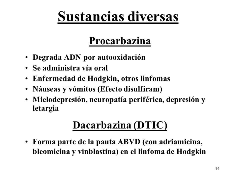 44 Sustancias diversas Procarbazina Degrada ADN por autooxidación Se administra vía oral Enfermedad de Hodgkin, otros linfomas Náuseas y vómitos (Efec