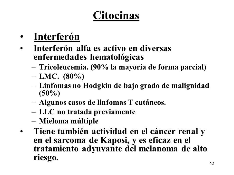 62 Citocinas Interferón Interferón alfa es activo en diversas enfermedades hematológicas –Tricoleucemia. (90% la mayoría de forma parcial) –LMC. (80%)
