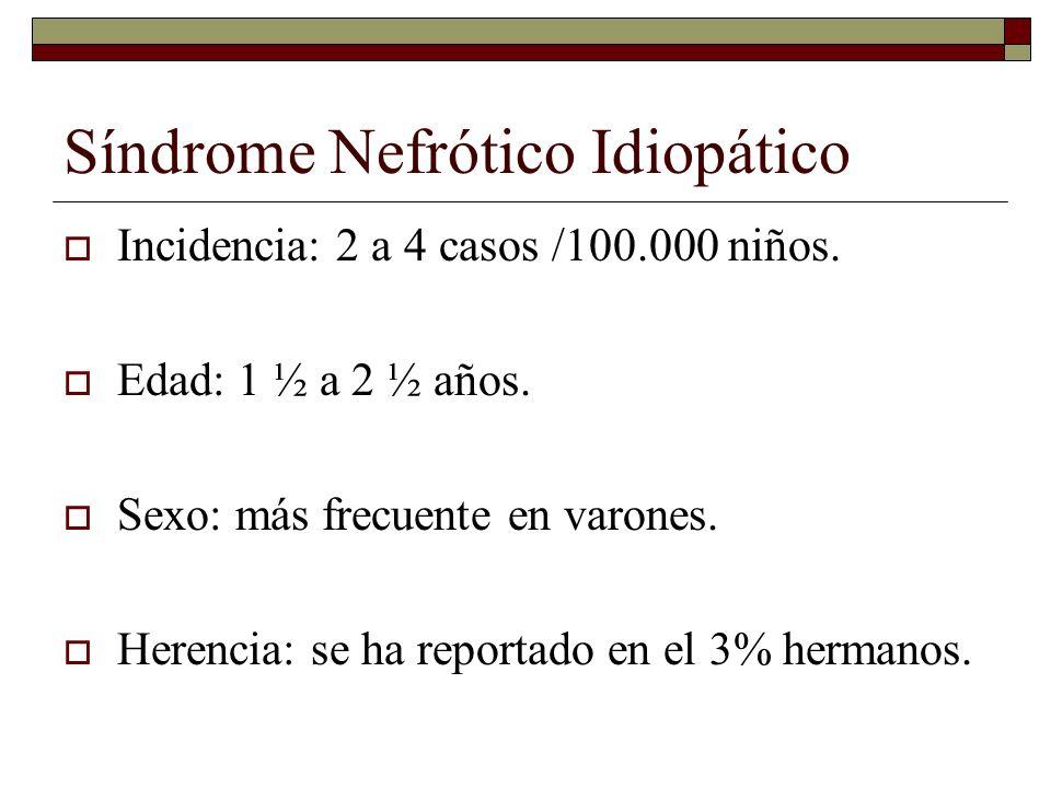 Síndrome Nefrótico Idiopático Incidencia: 2 a 4 casos /100.000 niños. Edad: 1 ½ a 2 ½ años. Sexo: más frecuente en varones. Herencia: se ha reportado