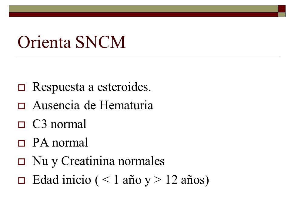 Orienta SNCM Respuesta a esteroides. Ausencia de Hematuria C3 normal PA normal Nu y Creatinina normales Edad inicio ( 12 años)