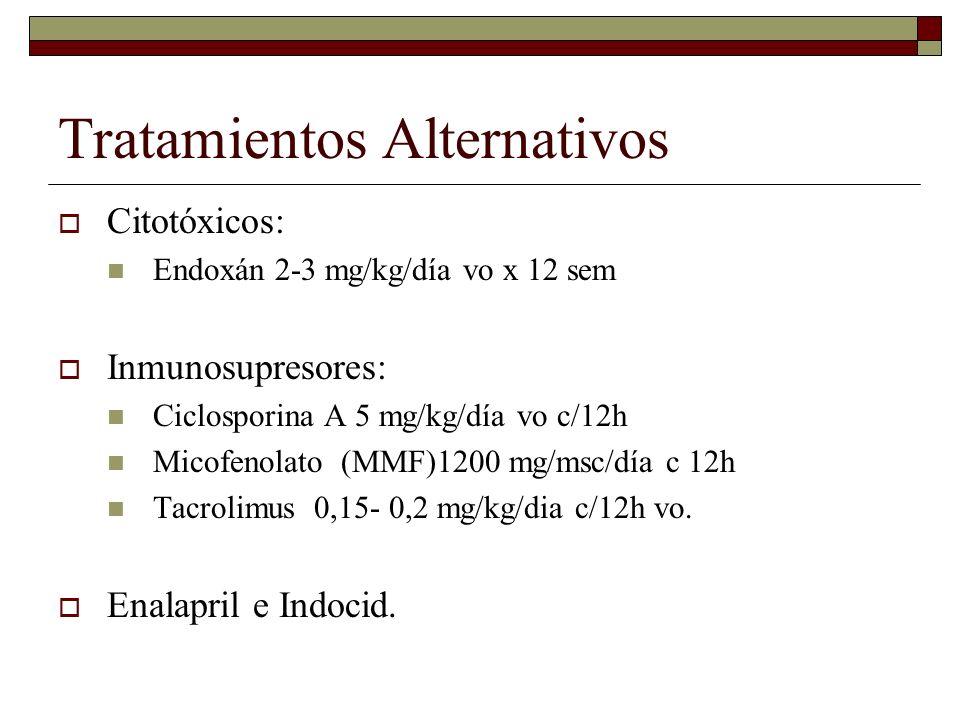 Tratamientos Alternativos Citotóxicos: Endoxán 2-3 mg/kg/día vo x 12 sem Inmunosupresores: Ciclosporina A 5 mg/kg/día vo c/12h Micofenolato (MMF)1200