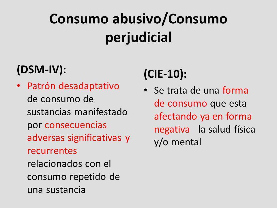 Consumo abusivo/Consumo perjudicial (DSM-IV): Patrón desadaptativo de consumo de sustancias manifestado por consecuencias adversas significativas y re