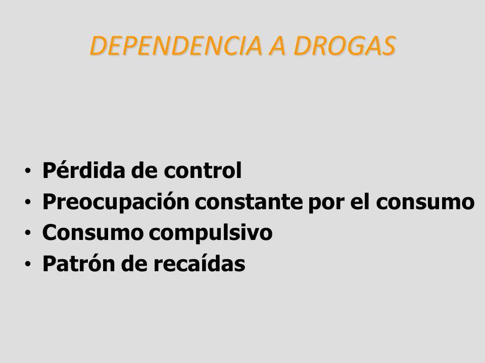 DEPENDENCIA A DROGAS Pérdida de control Preocupación constante por el consumo Consumo compulsivo Patrón de recaídas