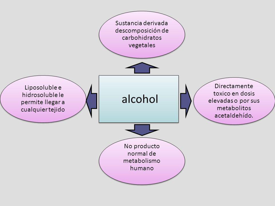 alcohol Sustancia derivada descomposición de carbohidratos vegetales No producto normal de metabolismo humano Liposoluble e hidrosoluble le permite ll
