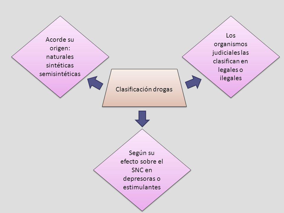 Clasificación drogas Acorde su origen: naturales sintéticas semisintéticas Según su efecto sobre el SNC en depresoras o estimulantes Los organismos ju