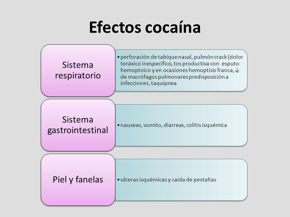 Efectos cocaína perforación de tabique nasal, pulmón crack (dolor toráxico inespecífico, tos productiva con esputo hemoptoico y en ocasiones hemoptisi