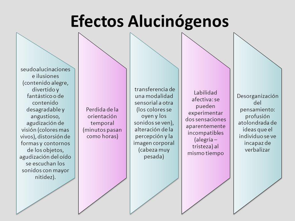 Efectos Alucinógenos seudoalucinaciones e ilusiones (contenido alegre, divertido y fantástico o de contenido desagradable y angustioso, agudización de