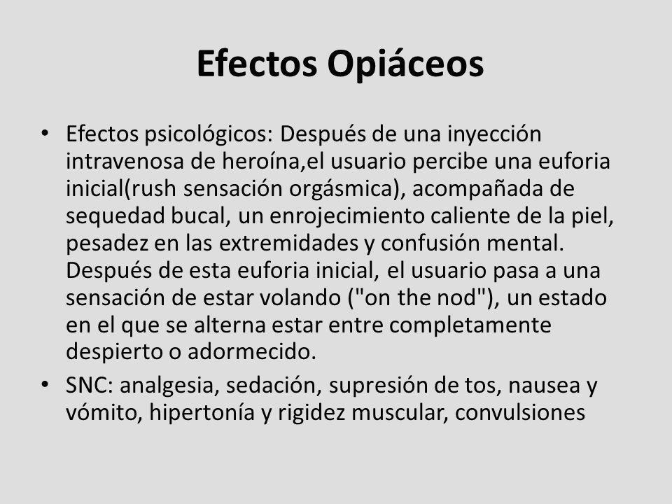 Efectos Opiáceos Efectos psicológicos: Después de una inyección intravenosa de heroína,el usuario percibe una euforia inicial(rush sensación orgásmica