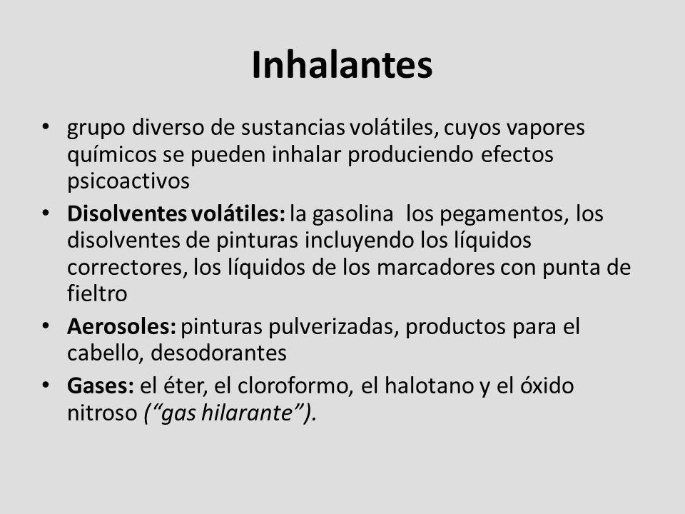 grupo diverso de sustancias volátiles, cuyos vapores químicos se pueden inhalar produciendo efectos psicoactivos Disolventes volátiles: la gasolina lo