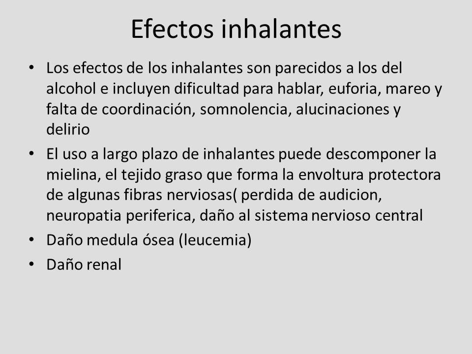 Efectos inhalantes Los efectos de los inhalantes son parecidos a los del alcohol e incluyen dificultad para hablar, euforia, mareo y falta de coordina