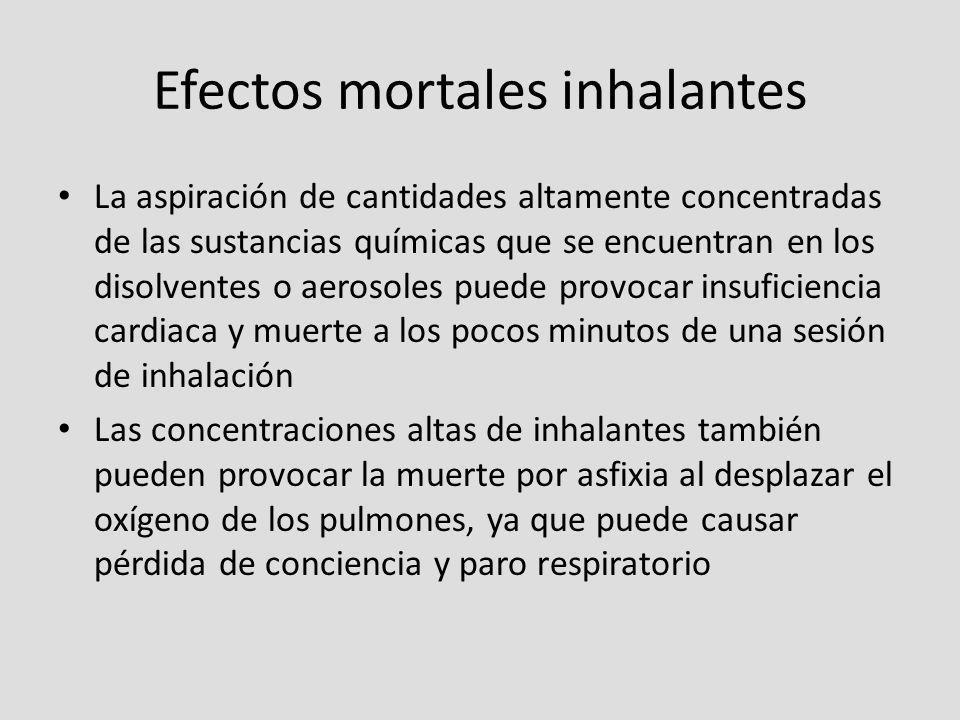 Efectos mortales inhalantes La aspiración de cantidades altamente concentradas de las sustancias químicas que se encuentran en los disolventes o aeros