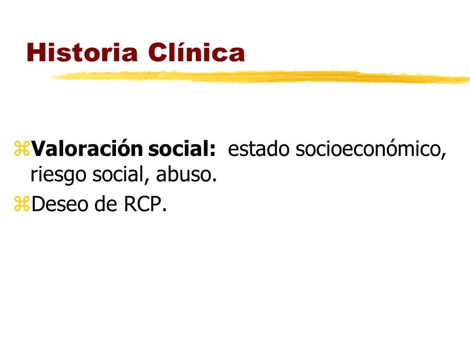 Historia Clínica zValoración social: estado socioeconómico, riesgo social, abuso. zDeseo de RCP.