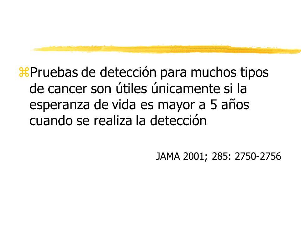 zPruebas de detección para muchos tipos de cancer son útiles únicamente si la esperanza de vida es mayor a 5 años cuando se realiza la detección JAMA 2001; 285: 2750-2756