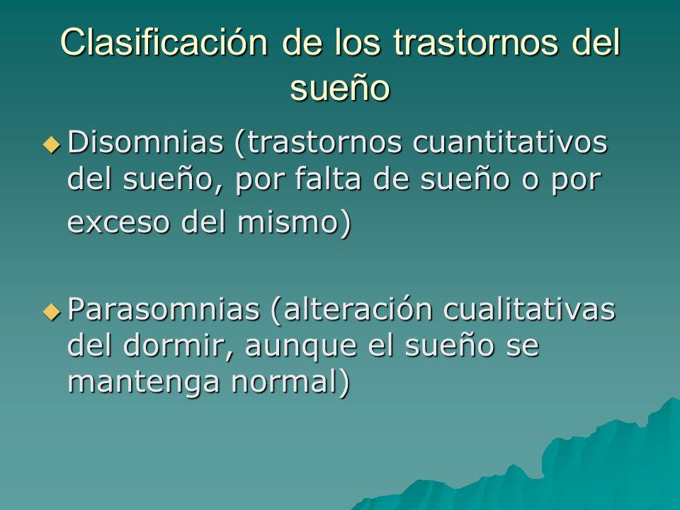 Clasificación de los trastornos del sueño Disomnias (trastornos cuantitativos del sueño, por falta de sueño o por Disomnias (trastornos cuantitativos