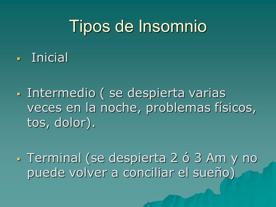Tipos de Insomnio Inicial Inicial Intermedio ( se despierta varias veces en la noche, problemas físicos, tos, dolor). Intermedio ( se despierta varias