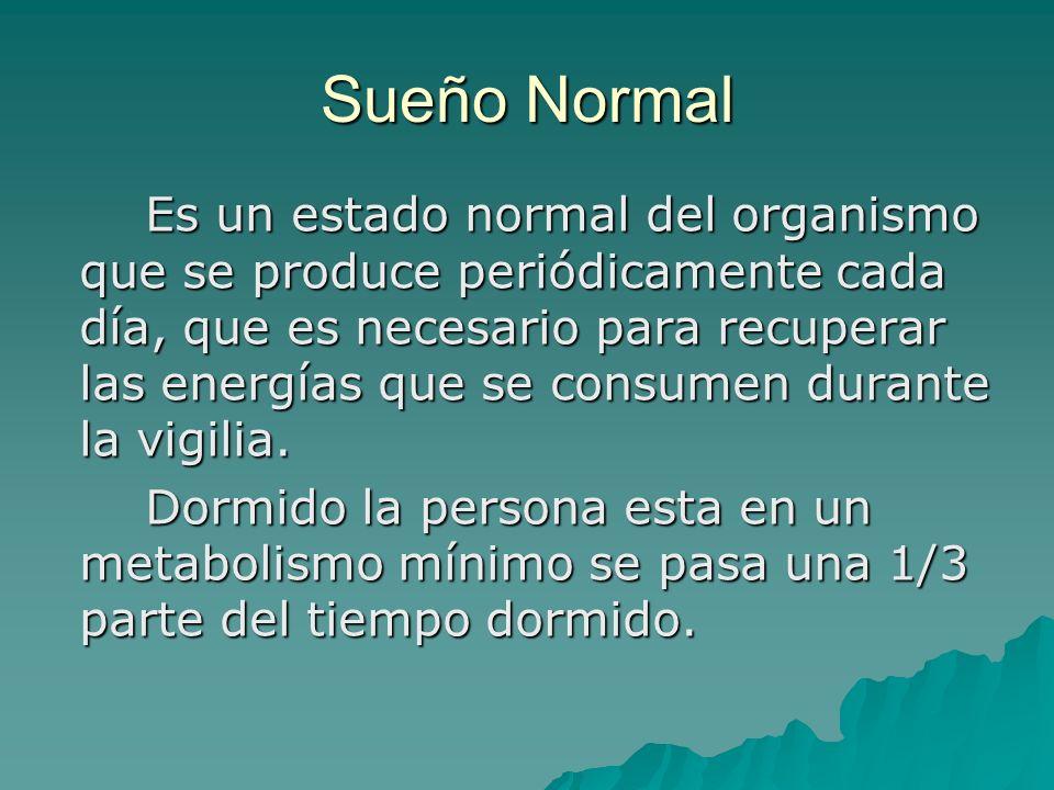 Sueño Normal Es un estado normal del organismo que se produce periódicamente cada día, que es necesario para recuperar las energías que se consumen du