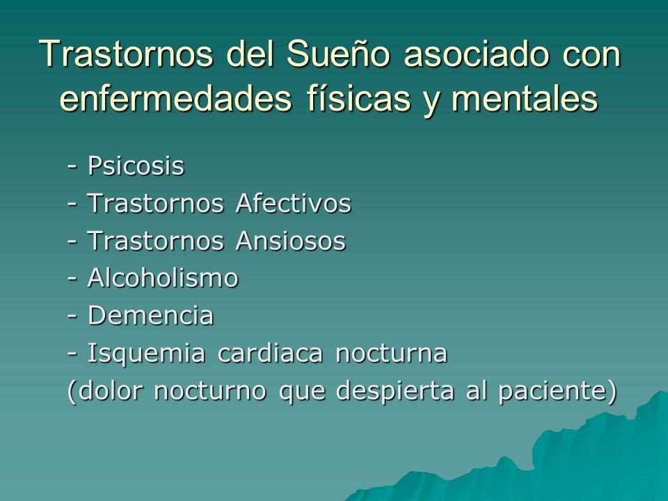 Trastornos del Sueño asociado con enfermedades físicas y mentales - Psicosis - Trastornos Afectivos - Trastornos Ansiosos - Alcoholismo - Demencia - I