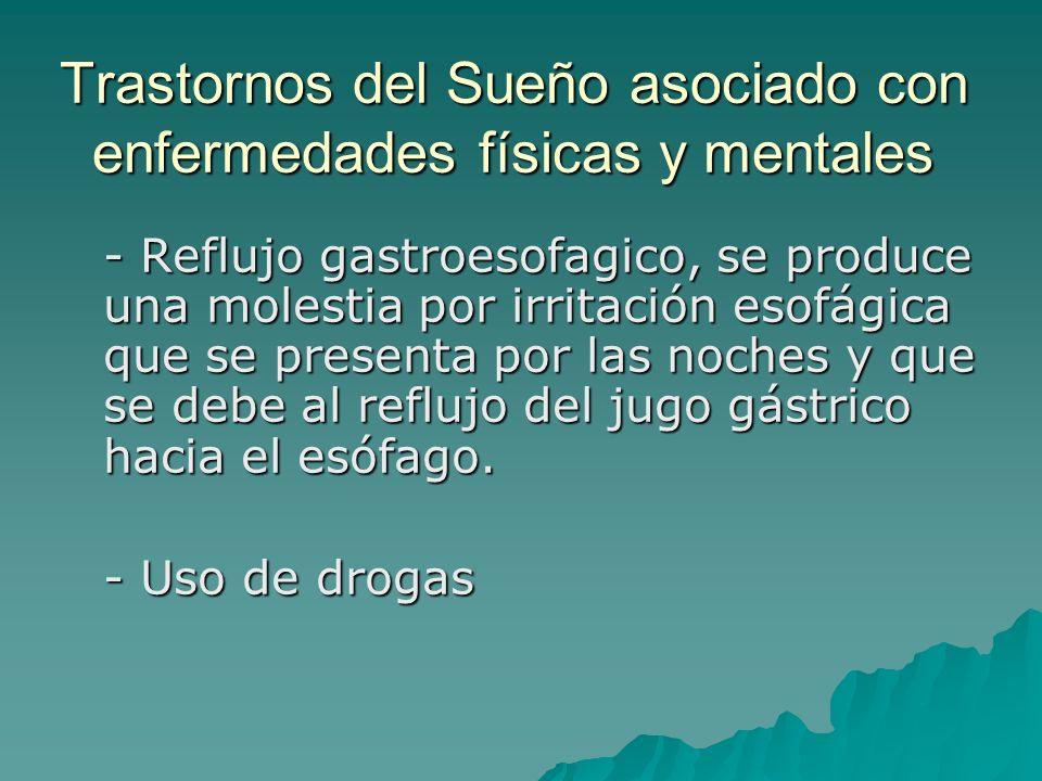 Trastornos del Sueño asociado con enfermedades físicas y mentales - Reflujo gastroesofagico, se produce una molestia por irritación esofágica que se p