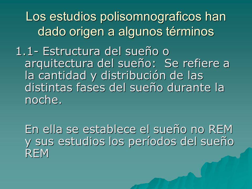 Los estudios polisomnograficos han dado origen a algunos términos 1.1- Estructura del sueño o arquitectura del sueño: Se refiere a la cantidad y distr