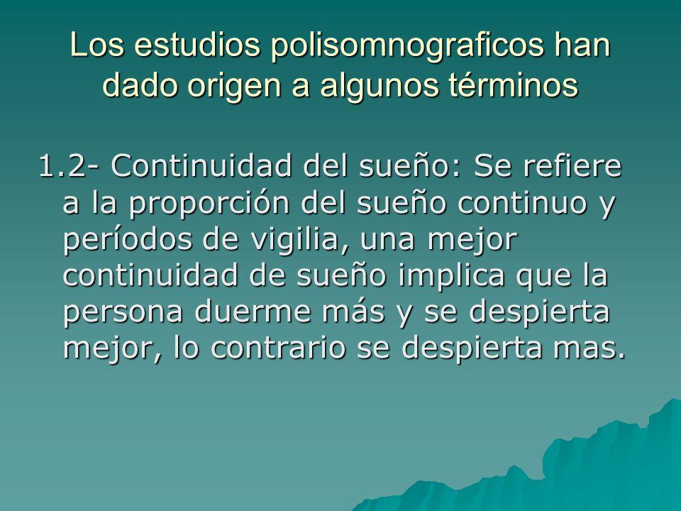 Los estudios polisomnograficos han dado origen a algunos términos 1.2- Continuidad del sueño: Se refiere a la proporción del sueño continuo y períodos