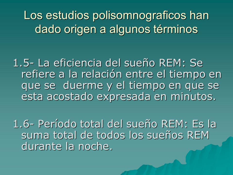 Los estudios polisomnograficos han dado origen a algunos términos 1.5- La eficiencia del sueño REM: Se refiere a la relación entre el tiempo en que se