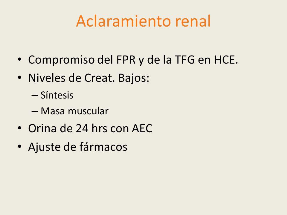 Aclaramiento renal Compromiso del FPR y de la TFG en HCE. Niveles de Creat. Bajos: – Síntesis – Masa muscular Orina de 24 hrs con AEC Ajuste de fármac