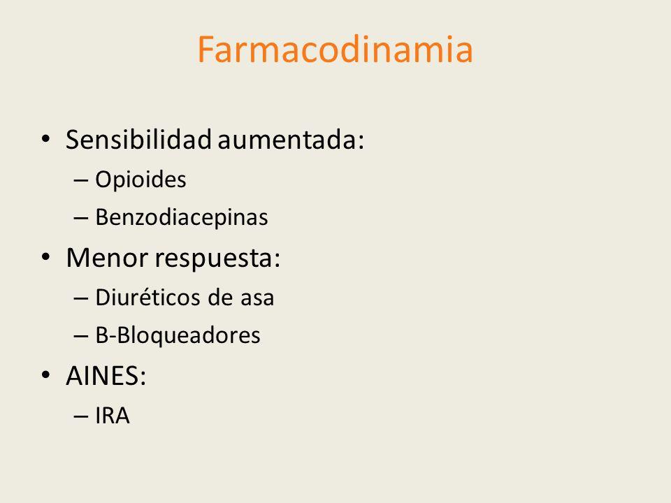 Farmacodinamia Sensibilidad aumentada: – Opioides – Benzodiacepinas Menor respuesta: – Diuréticos de asa – Β-Bloqueadores AINES: – IRA