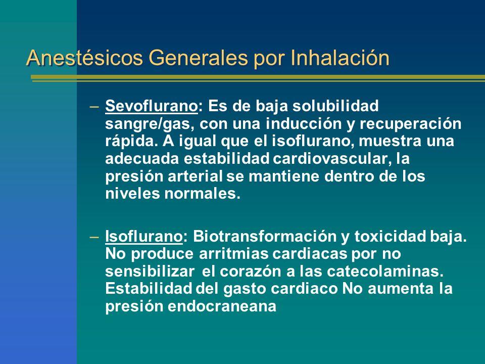 Anestésicos Generales por Inhalación –Sevoflurano: Es de baja solubilidad sangre/gas, con una inducción y recuperación rápida. A igual que el isoflura