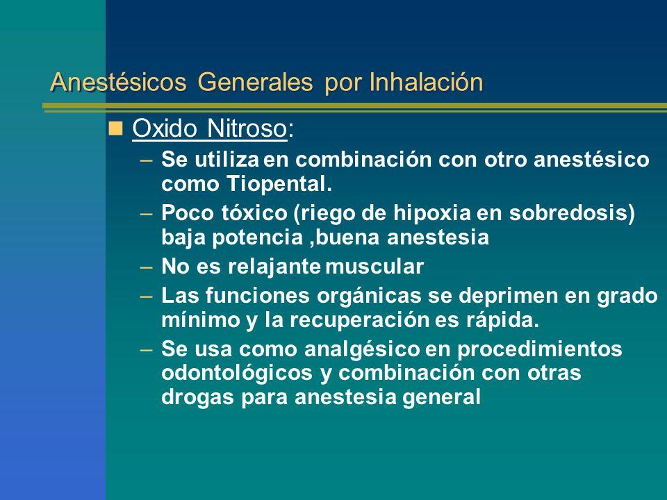 Anestésicos Generales por Inhalación Oxido Nitroso: –Se utiliza en combinación con otro anestésico como Tiopental. –Poco tóxico (riego de hipoxia en s