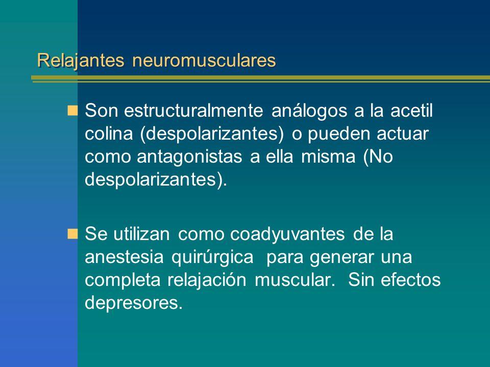 Relajantes neuromusculares Son estructuralmente análogos a la acetil colina (despolarizantes) o pueden actuar como antagonistas a ella misma (No despo
