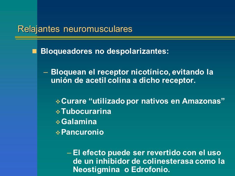 Relajantes neuromusculares Bloqueadores no despolarizantes: –Bloquean el receptor nicotínico, evitando la unión de acetil colina a dicho receptor. Cur