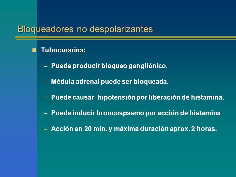 Bloqueadores no despolarizantes Tubocurarina: –Puede producir bloqueo gangliónico. –Médula adrenal puede ser bloqueada. –Puede causar hipotensión por