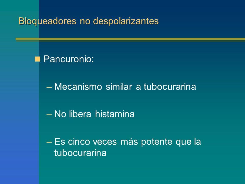 Bloqueadores no despolarizantes Pancuronio: –Mecanismo similar a tubocurarina –No libera histamina –Es cinco veces más potente que la tubocurarina