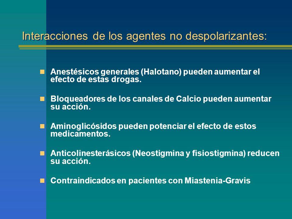 Interacciones de los agentes no despolarizantes: Anestésicos generales (Halotano) pueden aumentar el efecto de estas drogas. Bloqueadores de los canal