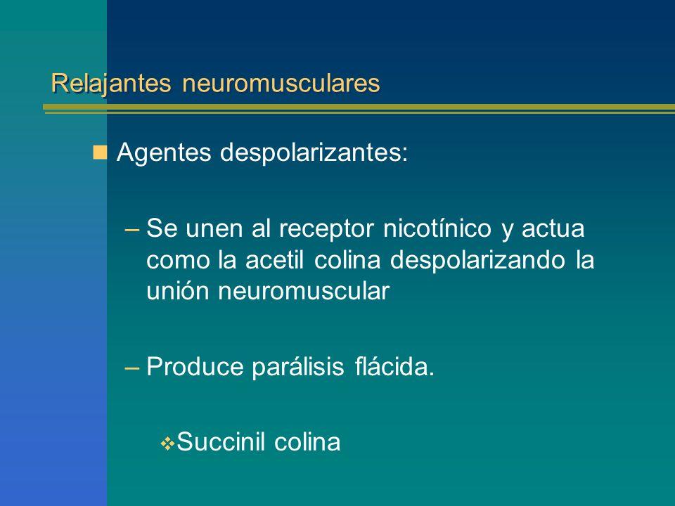 Relajantes neuromusculares Agentes despolarizantes: –Se unen al receptor nicotínico y actua como la acetil colina despolarizando la unión neuromuscula
