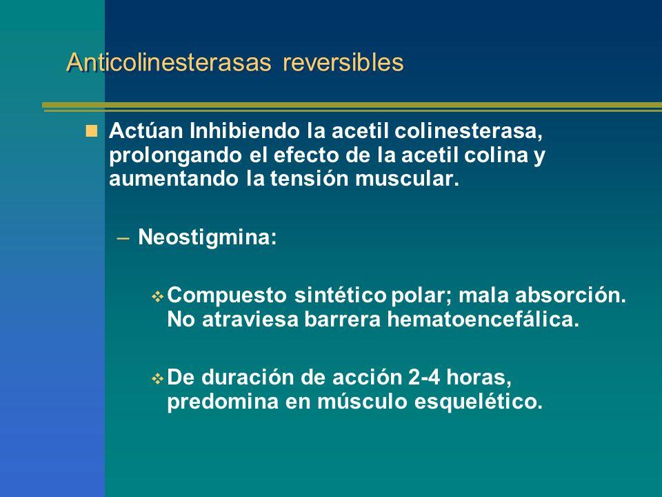 Anticolinesterasas reversibles Actúan Inhibiendo la acetil colinesterasa, prolongando el efecto de la acetil colina y aumentando la tensión muscular.