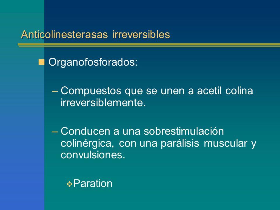 Anticolinesterasas irreversibles Organofosforados: –Compuestos que se unen a acetil colina irreversiblemente. –Conducen a una sobrestimulación colinér