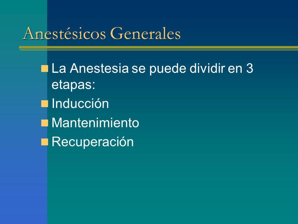 Anestésicos Generales La Anestesia se puede dividir en 3 etapas: Inducción Mantenimiento Recuperación